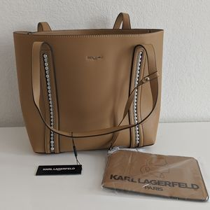 Karl Lagerfeld Tan Tote with Pearls and Pouch
